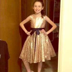 Dresses & Skirts - Girls pink sequin dress with navy ribbon